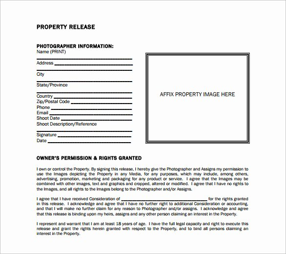 Personal Property Release form Template Inspirational 15 Property Release forms to Download for Free