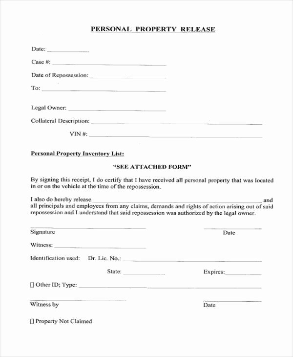 Personal Property Release form Template New 8 Property Release form Samples Free Sample Example