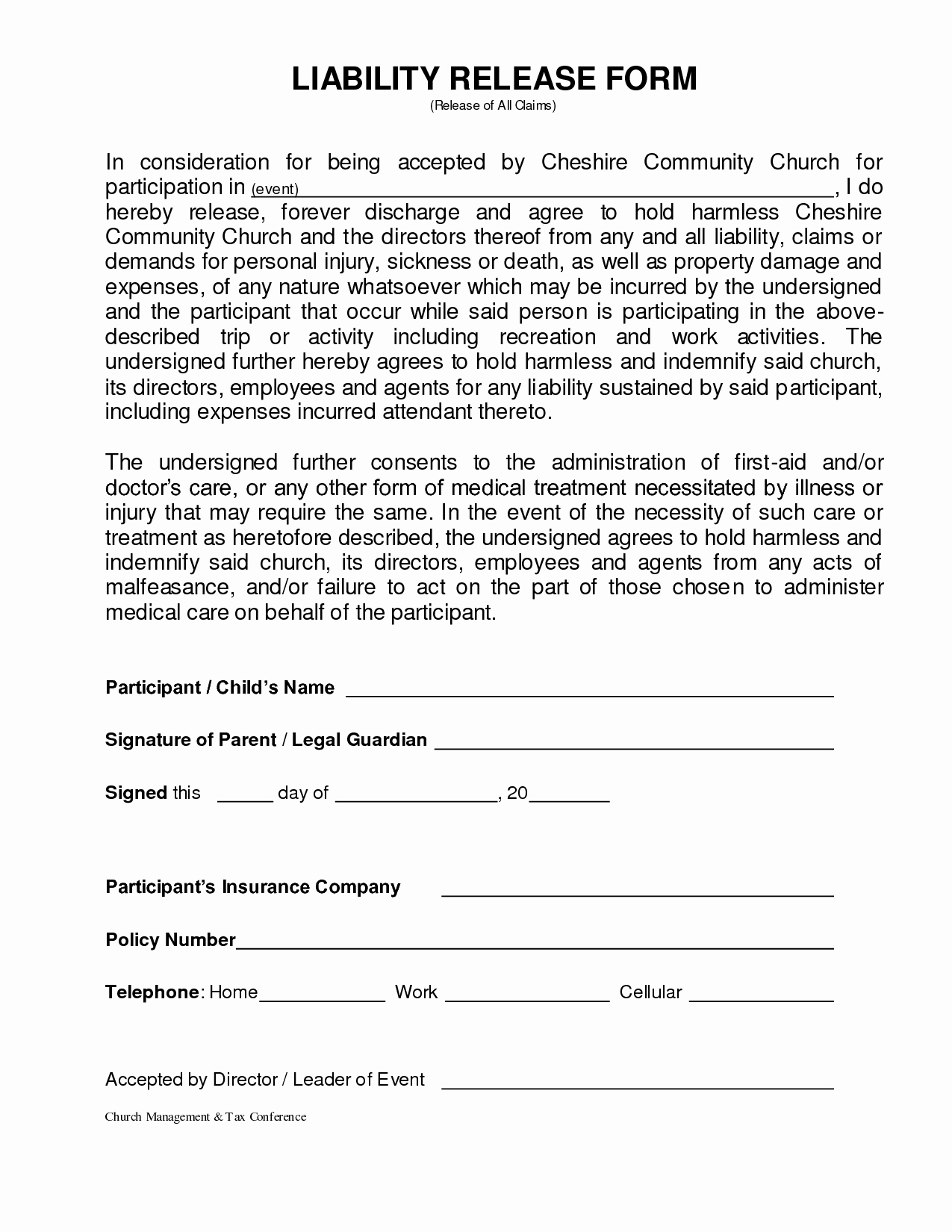 Personal Property Release form Template New General Liability Release form Template Pics