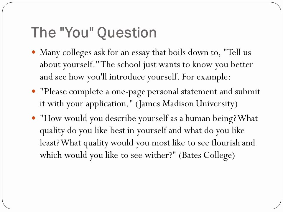 Personal Statement About Yourself Example Lovely the Bad College Essay Ppt Video Online