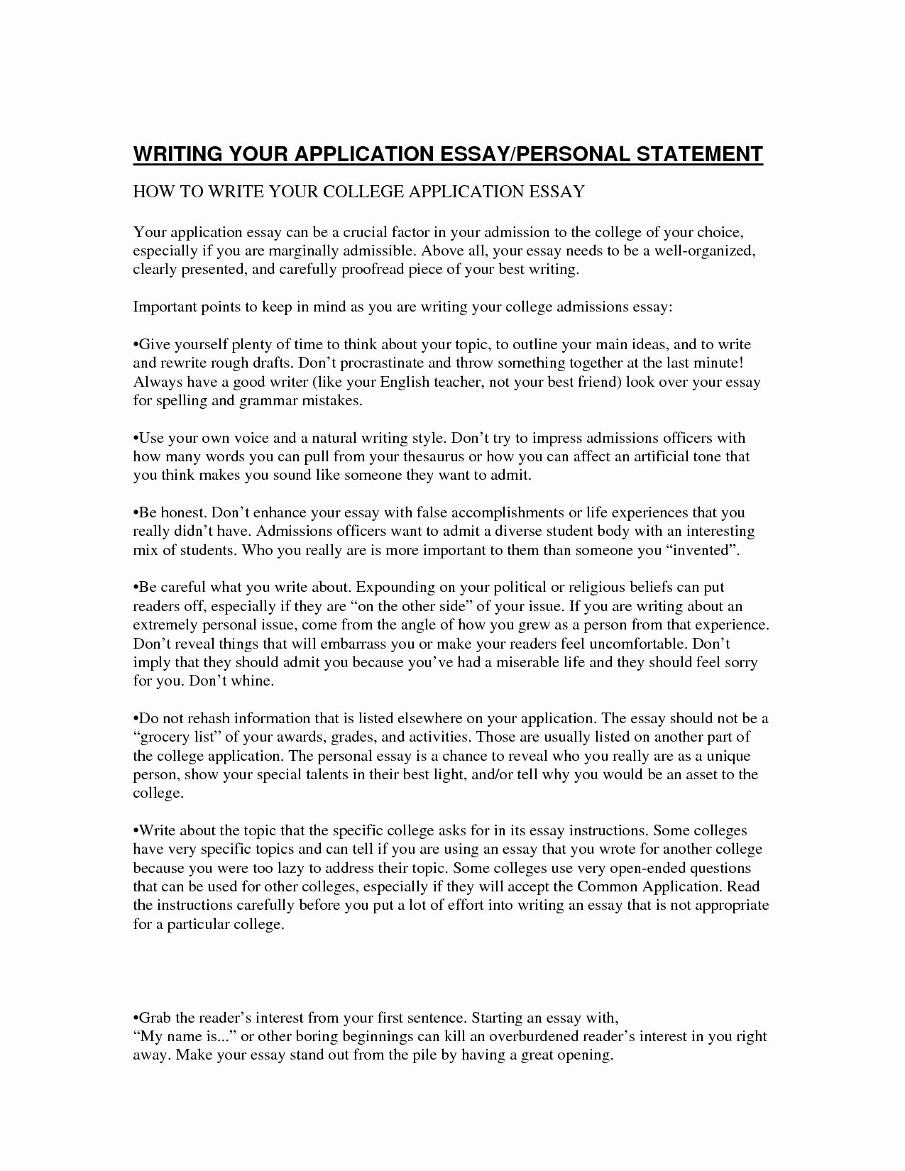 Personal Statement About Yourself Example Luxury Personal Essay Examples for College Admission