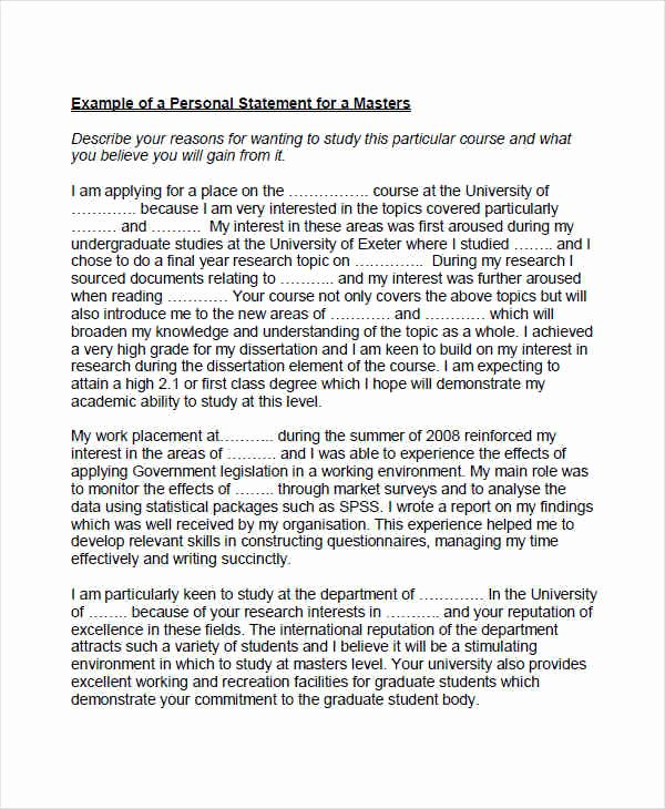 Personal Statement for Masters Degree Best Of 8 Personal Statement Examples & Samples