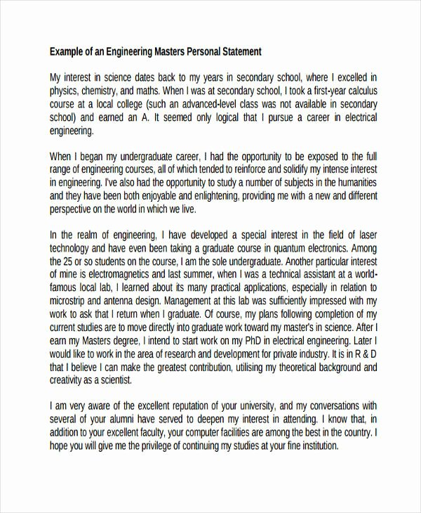Personal Statement for Masters Degree Elegant 29 Examples Of Personal Statements