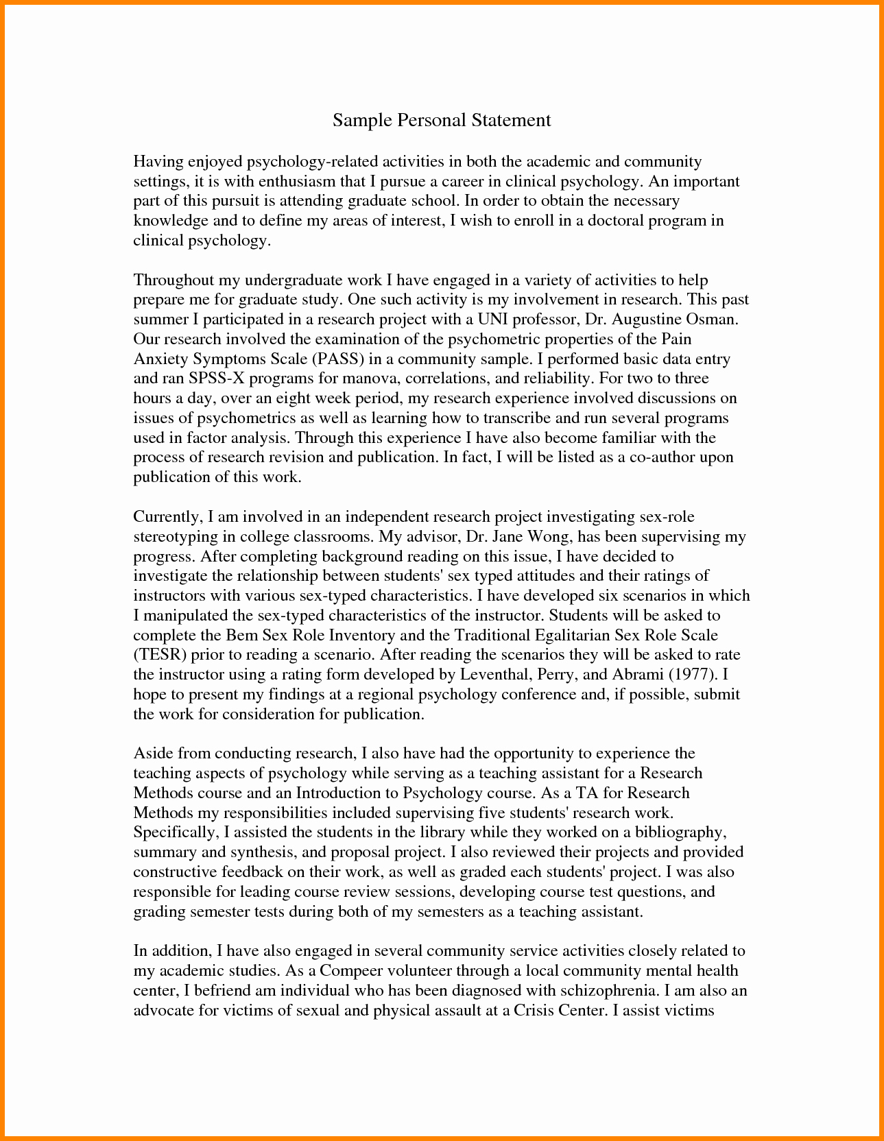 Personal Statement for Masters Degree Fresh 9 Writing A Personal Statement for Grad School