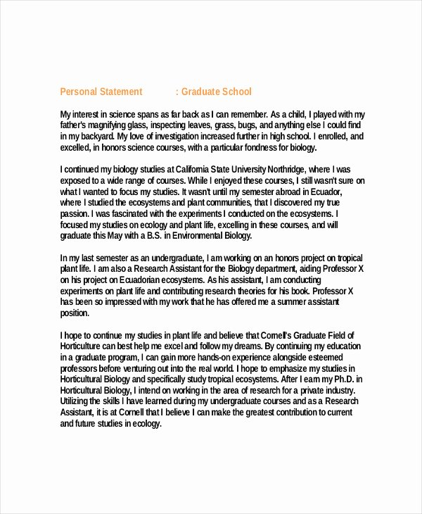 Personal Statement for Masters Degree New Graduate School Personal Statement