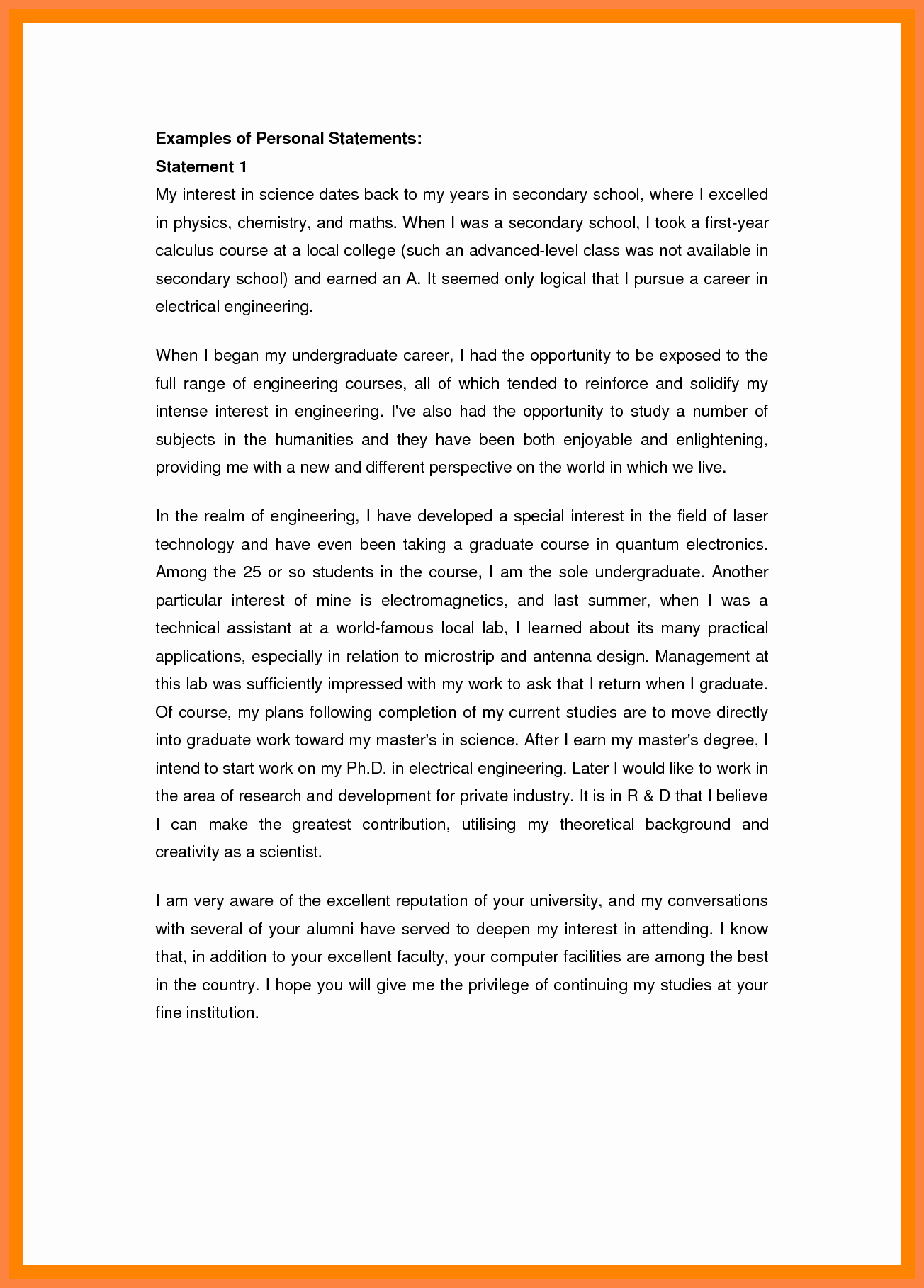 Personal Statement Of Faith Template Elegant 5 Example Of A Personal Statement