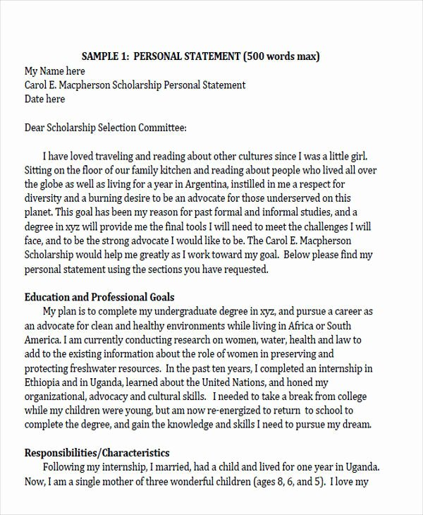 Personal Statement Of Intent Lovely 53 Letter Of Intent formats