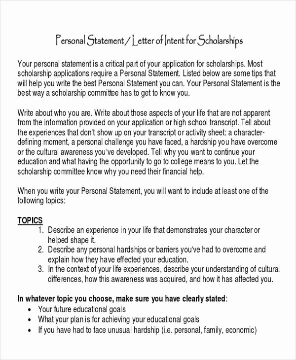 Personal Statement Of Intent Luxury 60 Sample Letter Of Intent