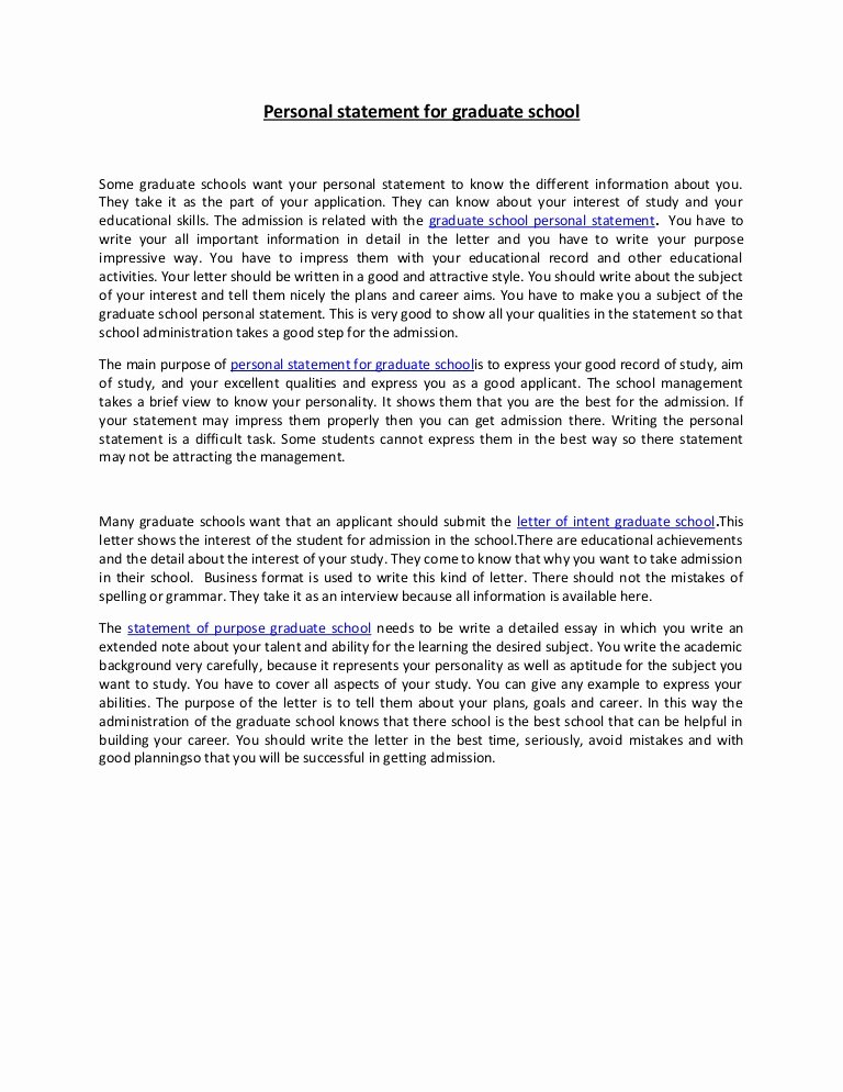 Personal Statement Of Intent New Personal Statement for Graduate School 37