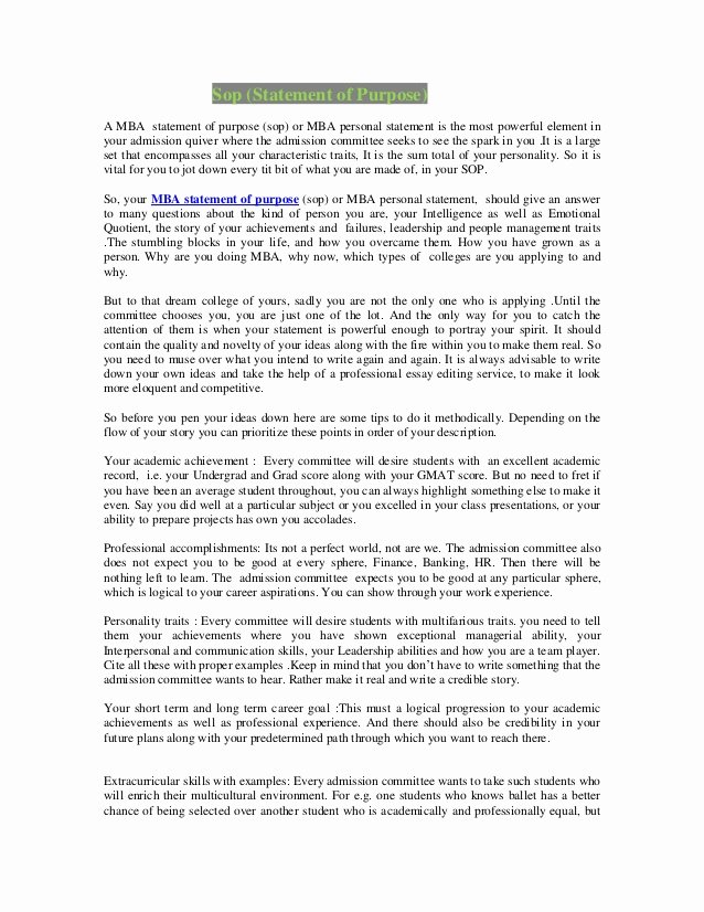 Personal Statement Of Intent Unique Personal Statement for Mba In Finance