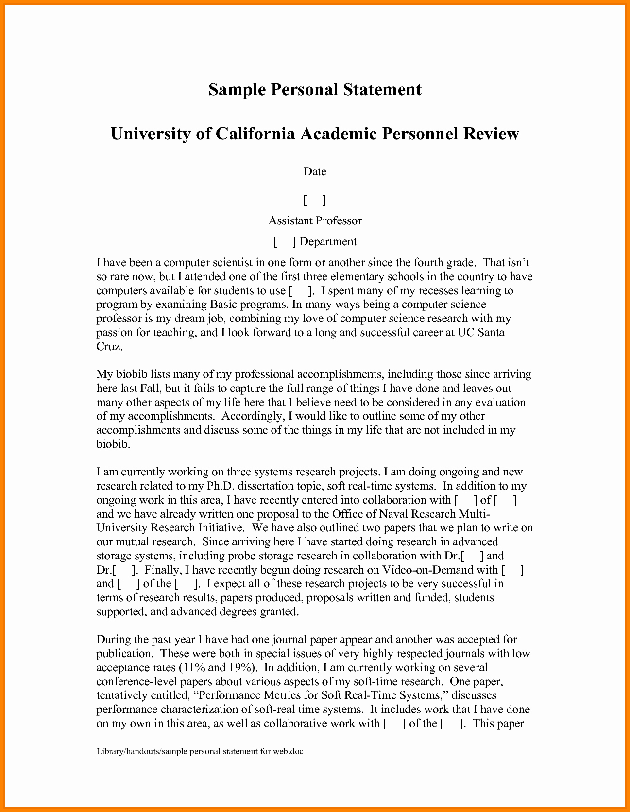 Personal Statement Template for College Beautiful 9 Writing A Personal Statement for Grad School