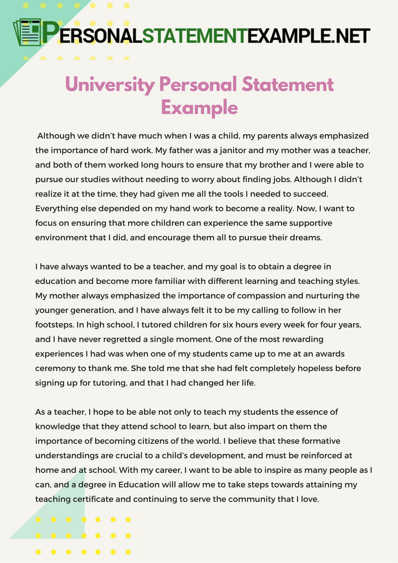 Personal Statement Template for College Elegant University Personal Statement Example