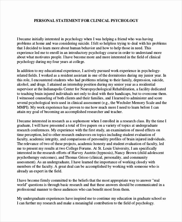 Personal Statement Template for College Lovely 10 Graduate School Personal Statement Examples
