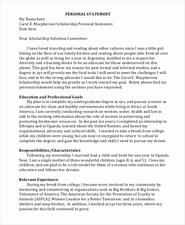 Personal Statement Template for College Lovely Sample Personal Statement format 9 Examples In Pdf Word