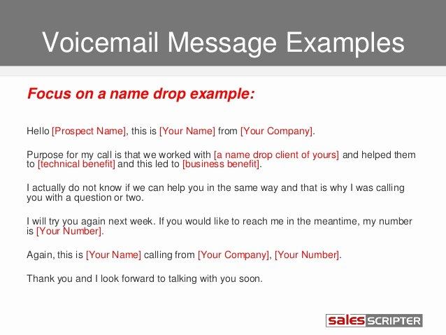Personal Voicemail Messages Examples Beautiful How to Deal with Voicemail when Prospecting