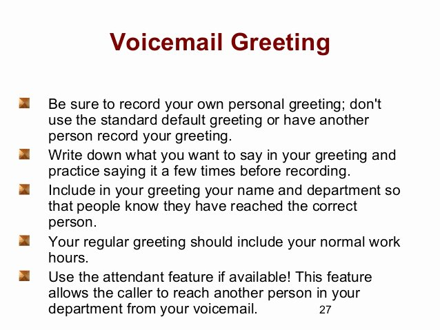Personal Voicemail Messages Examples Beautiful Telephone Techniques