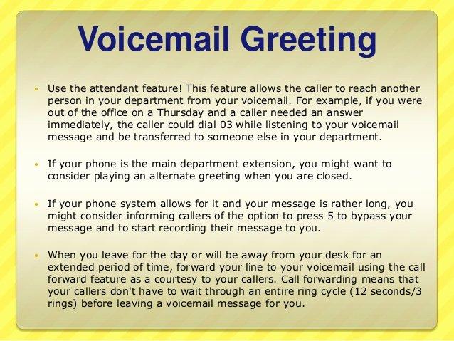 Personal Voicemail Messages Examples Best Of Telephone Etiquette