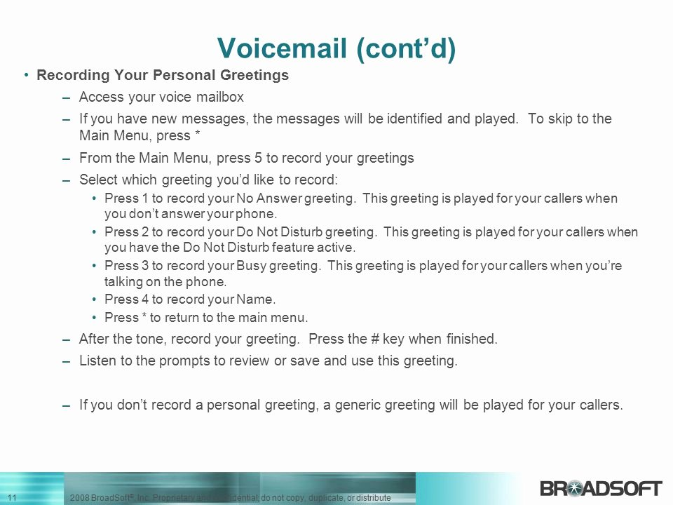 Personal Voicemail Messages Examples Best Of Using Your Voic M6 Release 7 1business Feature Set Default