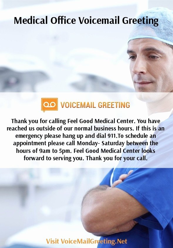 Personal Voicemail Messages Examples New Medical Fice Voicemail Greeting Sample