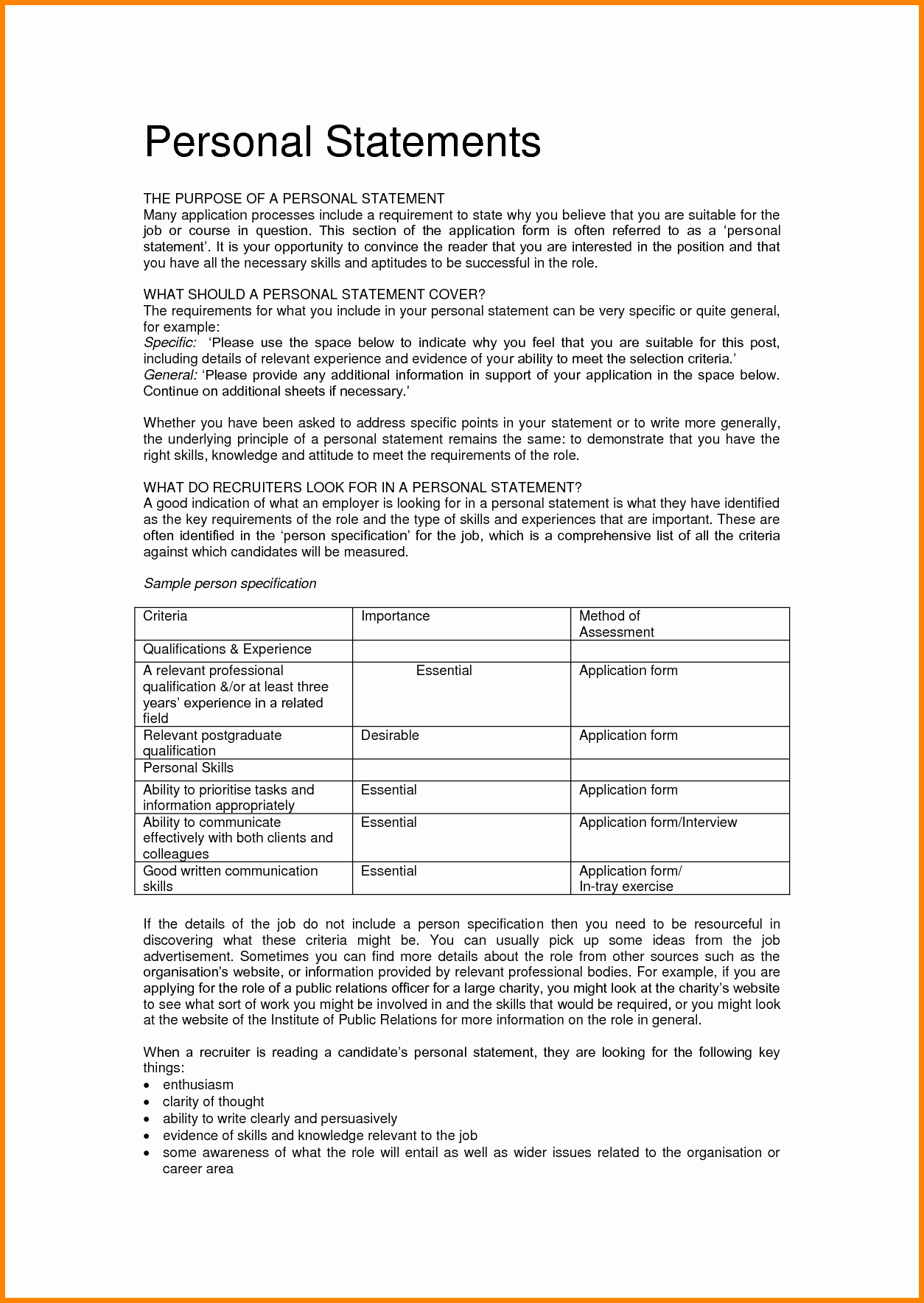 Personality Profile Essay Examples Unique 7 Personal Statement Of Qualifications Template