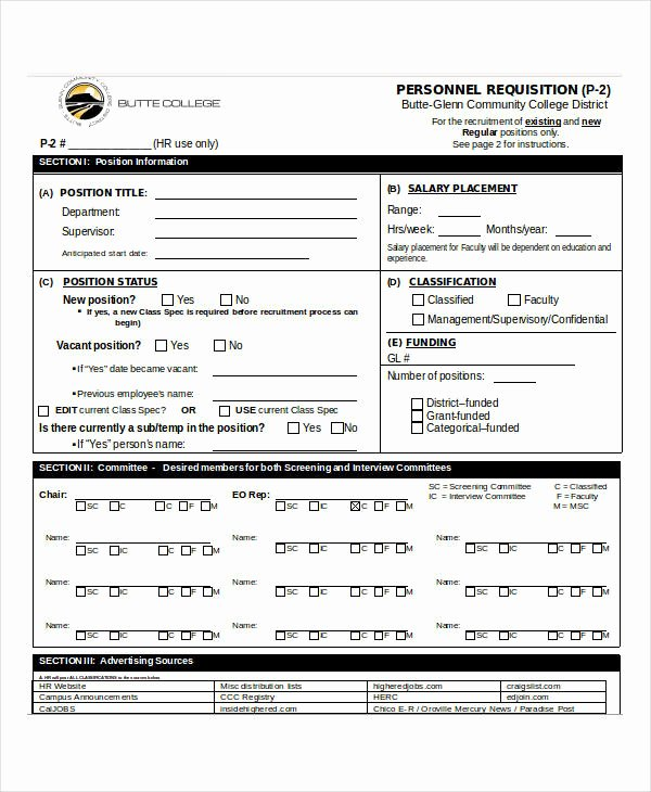 Personnel Requisition form Sample Awesome 32 Requisition forms In Doc