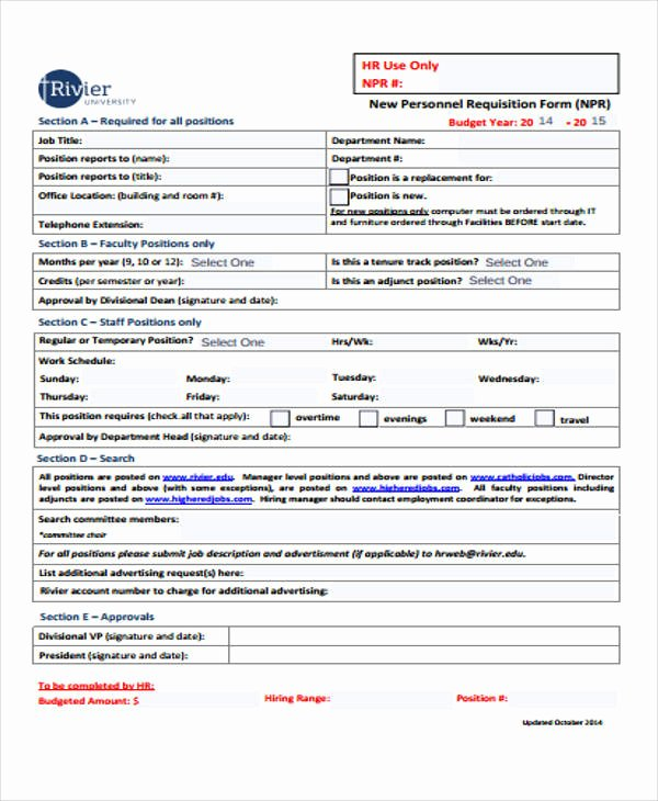 Personnel Requisition form Sample Best Of 43 Free Requisition forms