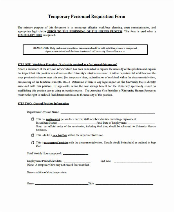 Personnel Requisition form Sample Best Of 85 Requisition form In Pdf