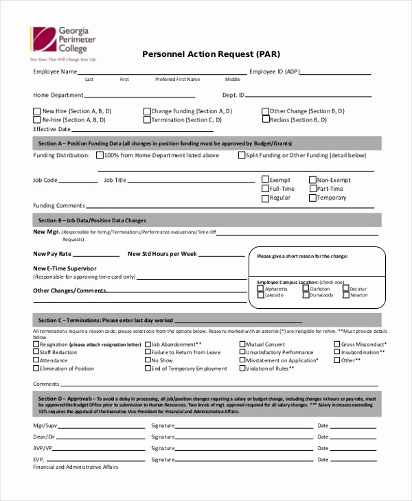 Personnel Requisition form Sample Fresh S Personnel Action form Excel Coloring Page for Kids