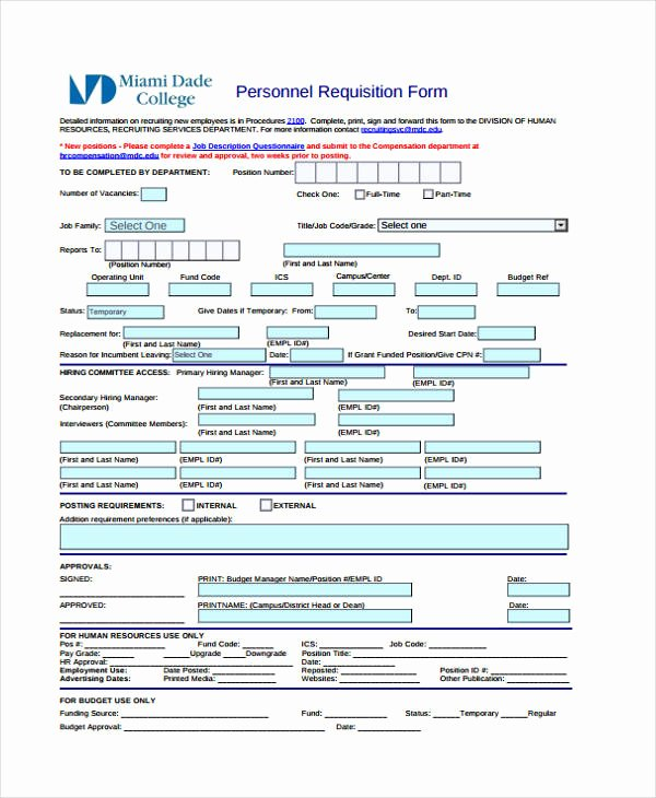 Personnel Requisition form Sample Luxury Sample Requisition forms
