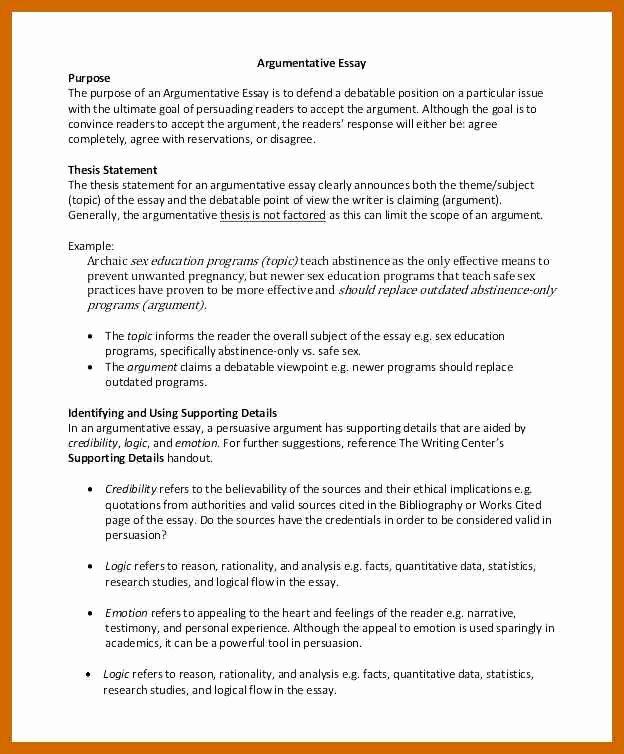 Persuasive Essay Title Generator Fresh 9 10 Argument Essay Examples