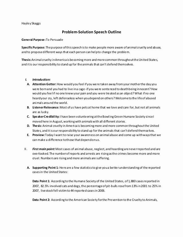 Persuasive Speech Outline Animal Adoption Awesome Problem solution Speech Outline