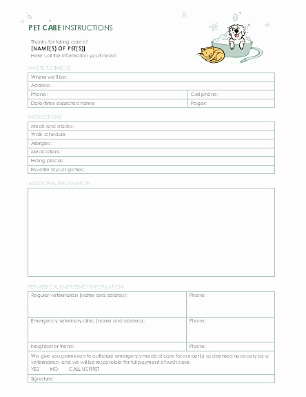Pet Report Card Template Luxury Pet Care Instructions Templates Fice