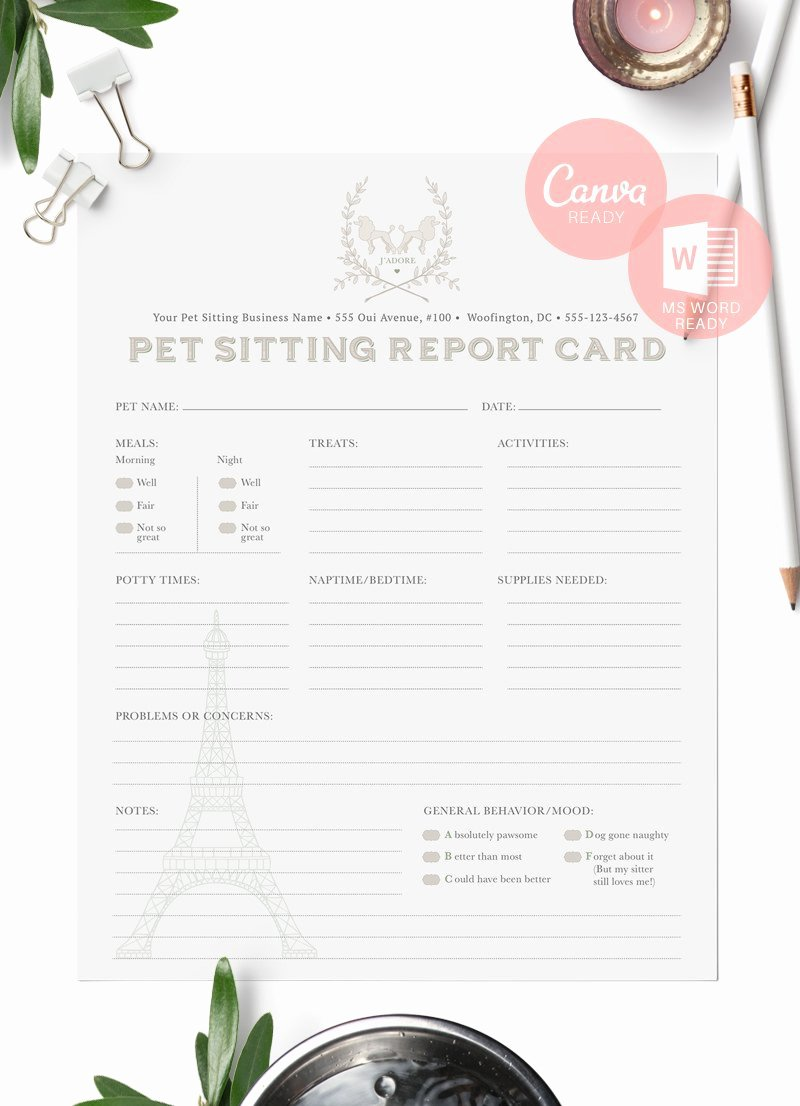 Pet Report Card Template Unique French themed Pet Sitting Report Cards