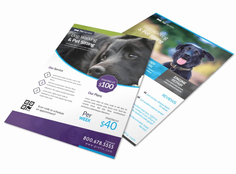 Pet Sitting Flyer Template Awesome Dog Walking & Pet Sitting Flyer Template