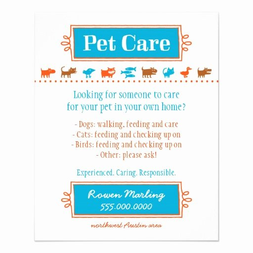 Pet Sitting Flyer Template Awesome Pet Care Flyer Colorful Animal Silhouettes