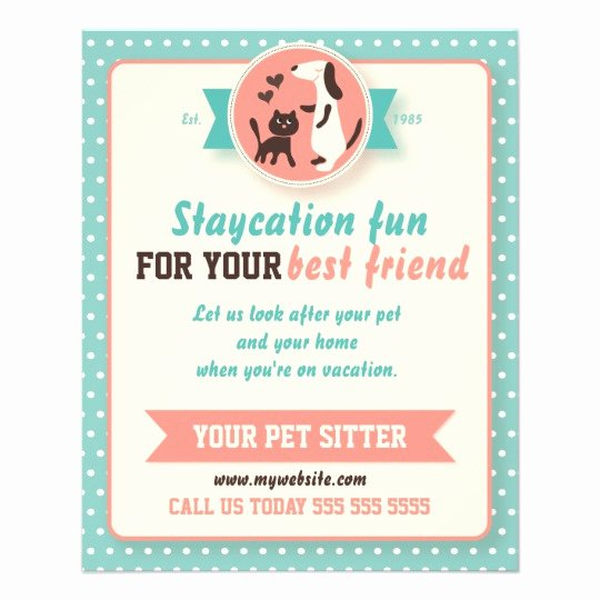 Pet Sitting Flyer Template Free Inspirational Pet Sitter Flyer Customizable Doublesided