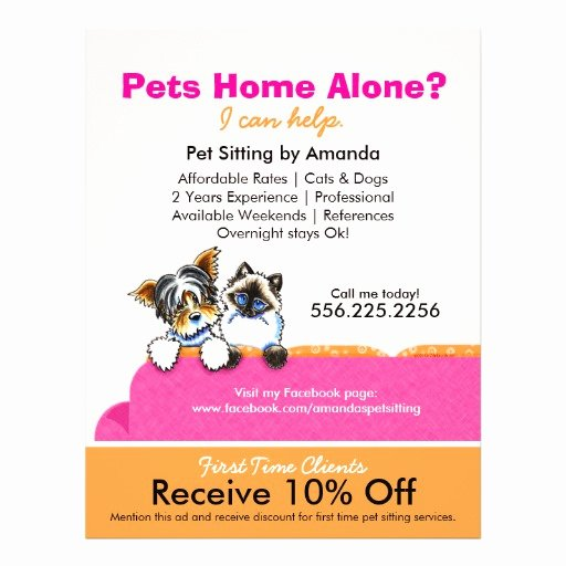 Pet Sitting Flyer Template Free Inspirational Pet Sitting Business Promotional Flyers Pet Sitting
