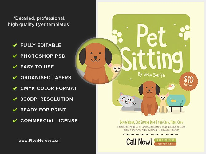Pet Sitting Flyer Template Free Luxury Pet Sitting Flyer V2 Flyerheroes