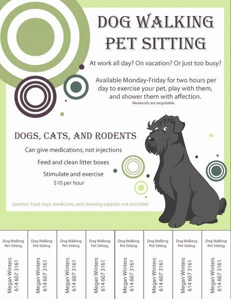Pet Sitting Flyer Template Free New Dog Walking Flyers Free Ktunesound