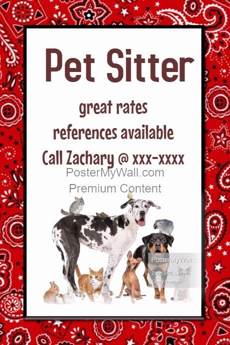 Pet Sitting Flyer Template Free New Pet Sitter Dog Walker Poster Flyer Announcement Red Black