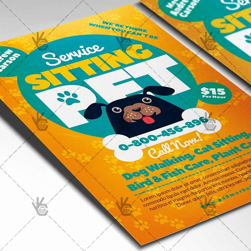 Pet Sitting Flyer Template Free Unique Pet Sitting Flyer Business Psd Template
