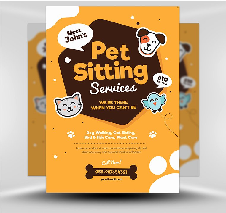 Pet Sitting Flyer Template Lovely Pet Sitting Flyer V1 Flyerheroes