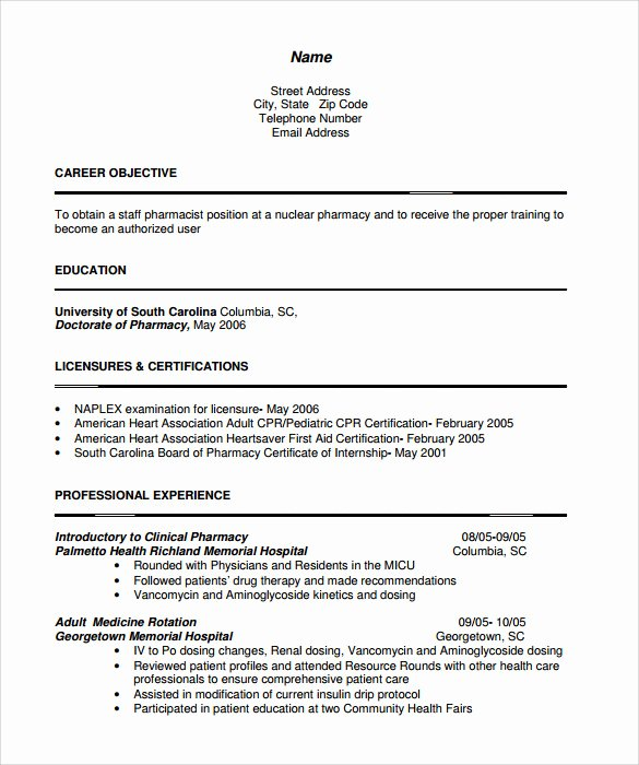 Pharmacist Resume Templates Awesome Sample Pharmacist Resume 9 Download Documents In Pdf