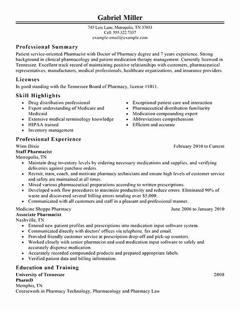 Pharmacist Resume Templates Beautiful Best Pharmacist Resume Example