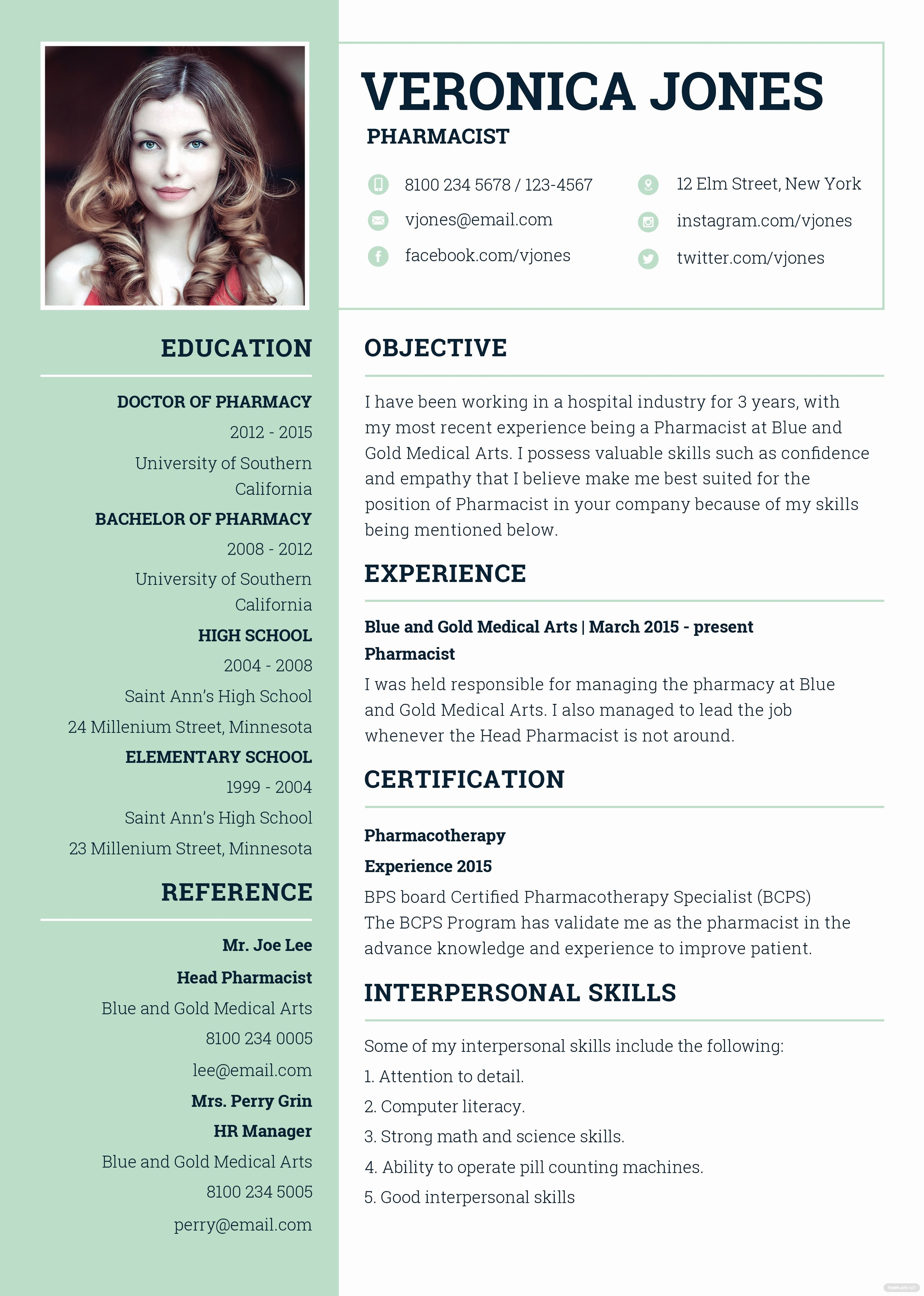 Pharmacist Resume Templates Beautiful Free Basic Pharmacist Resume and Cv Template In Adobe