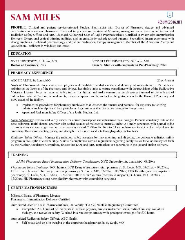 Pharmacist Resume Templates Best Of Pharmacist Resume Example 2016