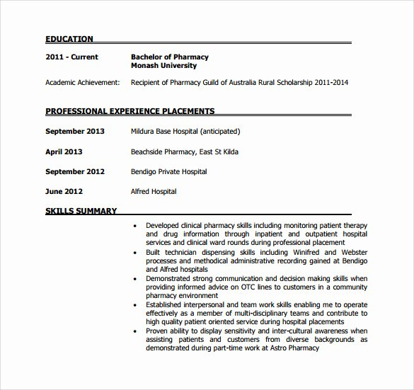 Pharmacist Resume Templates Best Of Sample Pharmacist Resume 9 Download Documents In Pdf