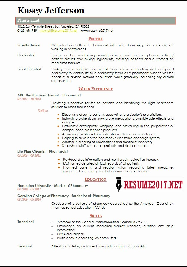 Pharmacist Resume Templates Lovely Pharmacist Resume 2017 Templates