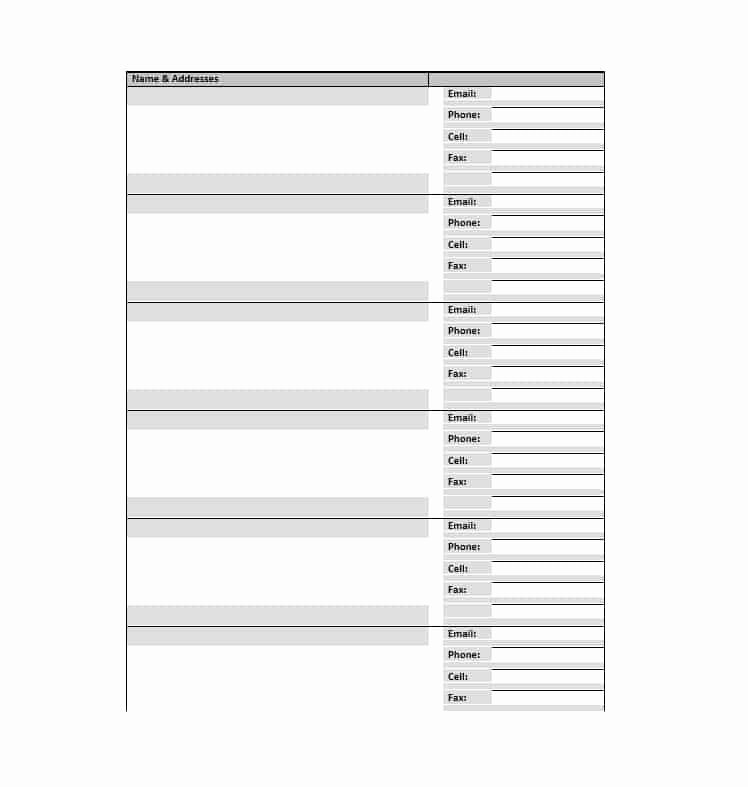 Phone Book Template Excel Beautiful Address Book Template Printable Pdf Free Download