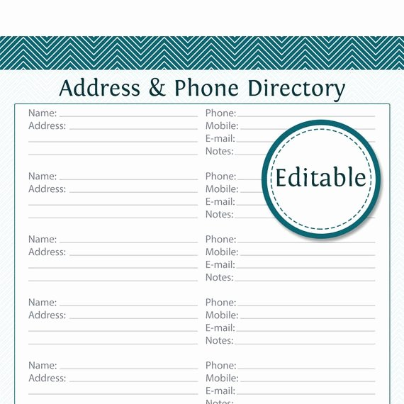 Phone Book Template Excel Lovely Address & Phone Directory Editable Printable Pdf by